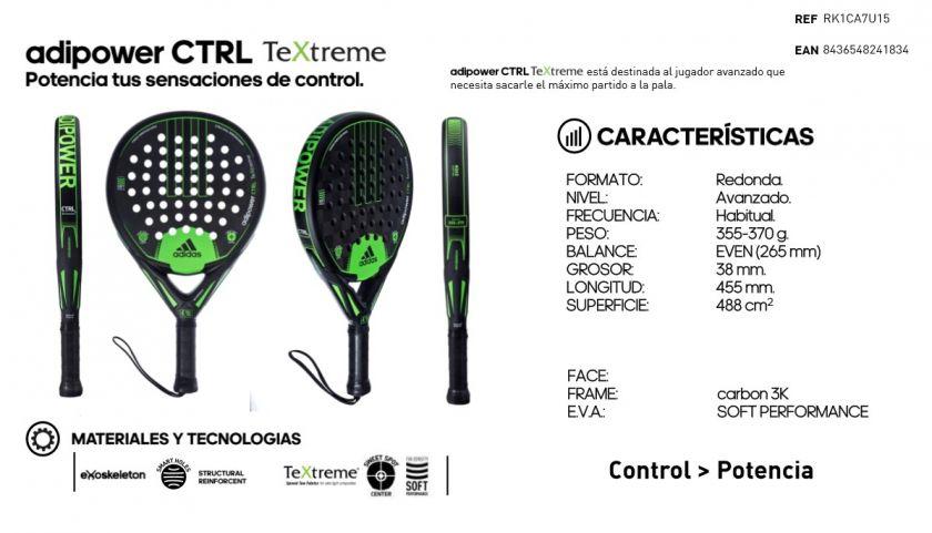 lema Ennegrecer Punta de flecha  Adidas Adipower CTRL TeXtreme: Características - Pala de padel   Paddelea
